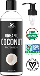 Organic Fractionated Coconut Oil by SR Naturals ~ 100% Pure Multi-Purpose Oil ~ Organic Certified & Non-GMO Verified (16oz)