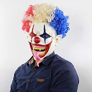 MASKHXPBB Explosive Head Big Mouth Long Tongue Clown Mask Halloween Horror Ghost Head Set Explosion Head Clown Latex Mask Scary Cosplay