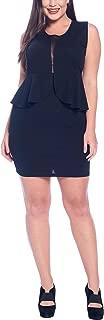 Women's Junior Plus Size Sleeveless V-Neck Adjustable Spaghetti Strap Lace Mesh Detail Bodycon Mini Dress