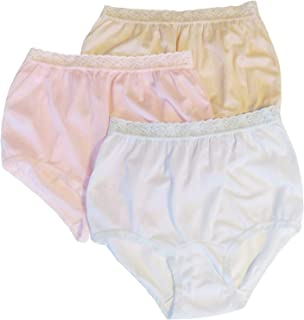Carole Women's Nylon Lace Trim Panties Full Cut Briefs - Pack of 3