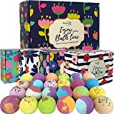 Bath Bombs Gift Set- 24 Aromatherapy BathBombs made w/Organic Essential oils- Spa Fizzies w/Moisturizing Shea Butter and Bath Salts for Relaxation and Stress Relief- Gift for women and Kids