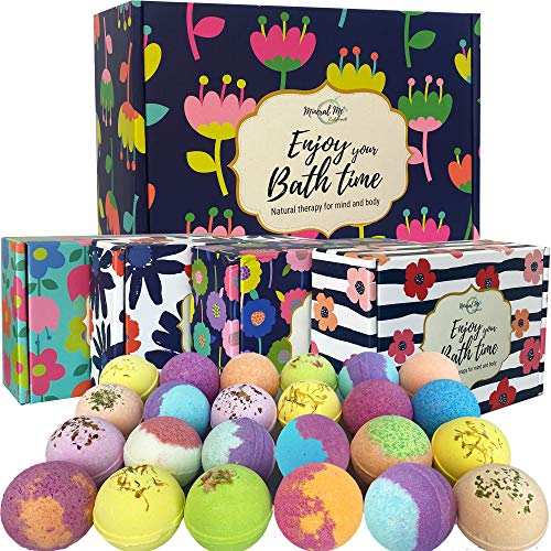 Bath Bombs Gift Set 24 Aromatherapy BathBombs Made w/ Organic Essential Oils Spa Fizzies w/Moisturizing Shea Butter and Bath Salts for Relaxation and Stress Relief Gift for Women and Kids