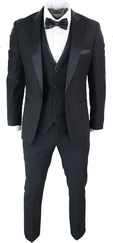 Mens 3 Piece Black Classic Satin Tuxedo Dinner Suit Tailored Fit Wedding Prom