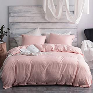 Argstar 2 Pcs 100% Microfiber Twin Duvet Cover Set with Buttons, Washed Cotton Effect, Light Pink