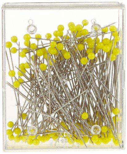 Prym Glaskopfstecknadeln 20 g, Stahl, 0,60 x 43 mm, gelb Glaskopfnadeln, 0,60 x 43mm, 20g, 43 x 0,6mm