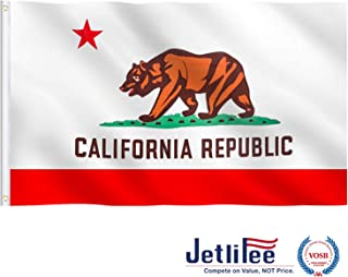 Jetlifee California State Flag 3x5 Ft - by US Veterans Owned Biz. Californian CA Flags 4 Rows Stitched, Canvas Header with 2 Sturdy Brass Grommets, Vivid Color and Fade Resistant for Outdoor Indoor