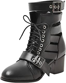 BeiaMina Women Fashion Block Heel Summer Boots Cutouts