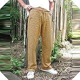 BSbattle 2020 - Pantalones de verano para hombre, de algodón, lino, color sólido, rectos, pantalones sueltos Dorado dorado 48