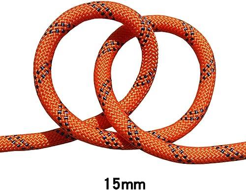 QARYYQ Corde de Rappel Corde à Rappel aérienne, diamètre de Corde 15 mm, Orange, Noir Cordes (Taille   10m)