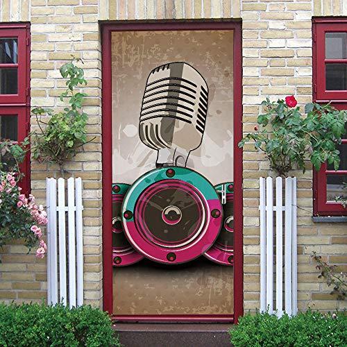 BXZGDJY 3D Deur Plakken Mural Zelfklevende Behang Poster Film - Microfoon Patroon 2 Stuks/Set van DIY Sticker Woonkamer Slaapkamer Children's Restaurant Office Bar Deur Art Decoratie 90x210cm
