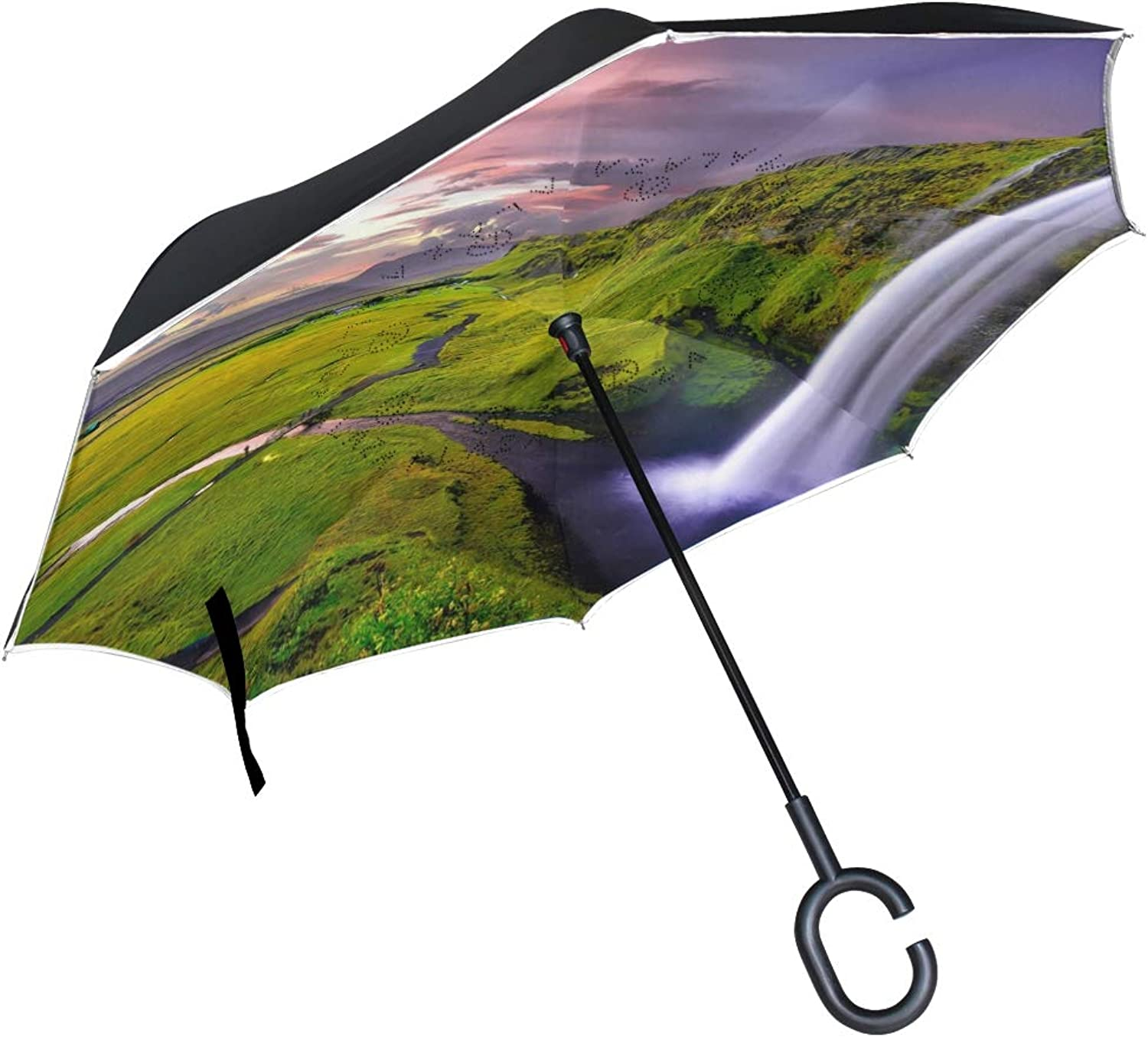 HEOEH Splendid Scene Waterfall Ingreened Umbrella Windproof Reverse Folding Double Layer Travel Umbrella with C Shape Handle