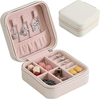 Mini Small Portable Travel Jewelry Organiser Box with Zipper Storage Case for Earrings Rings Bracelet Necklaces for Her Gi...