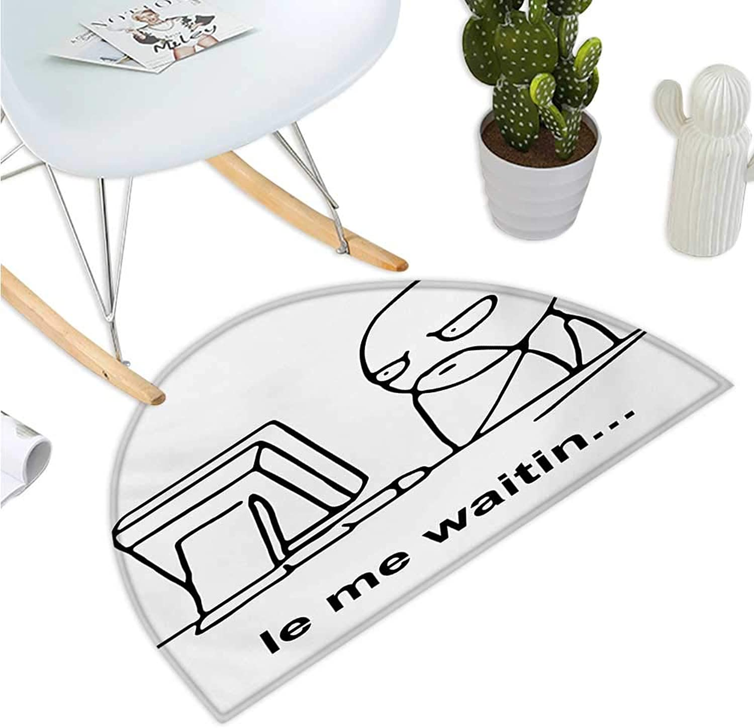 Humor Semicircle Doormat Stickman Meme Face Icon Looking at Computer Joyful Fun Caricature Comic Design Entry Door Mat H 35.4  xD 53.1  Black and White