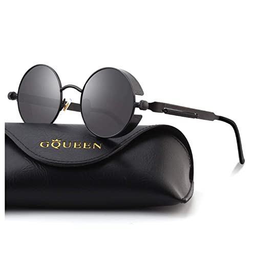 14869486db GQUEEN Retro Round Steampunk Polarized Sunglasses MTS2