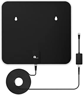 TV Antenna, 1byone Amplified HD Digital Indoor/Outdoor Waterproof TV Antenna Long Range 100 Miles with Signal Booster Support UHF VHF 4K 1080P Freeview Local Channels, 26FT Coaxial Cable (Black)