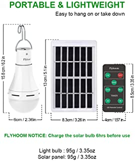 Flyhoom Solar Powered Light Bulbs Outdoor Rechargeable, Portable 180LM Solar Emergency LED Bulb with Remote for Indoo...