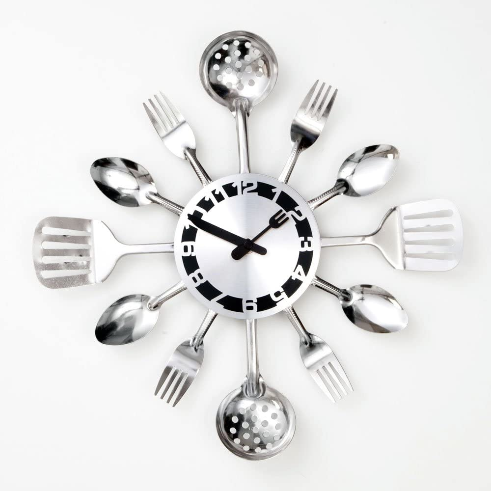 Amazon Com Bits And Pieces Contemporary Kitchen Utensil Clock Silver Toned Forks Spoons Spatulas Wall Decor Unique Fun Gift Dining