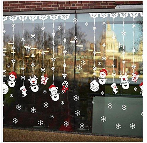 QIANGTIE Wandaufkleber Weihnachten Schneemann Perlenvorhang Zuhause Türen und Fenster Dekoration Aufkleber PVC 60 * 90 cm