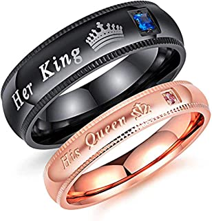 2Pcs Matching Set Stainless Her Queen & His King Black/Rose Gold Couple Rings Bands, Love Gift