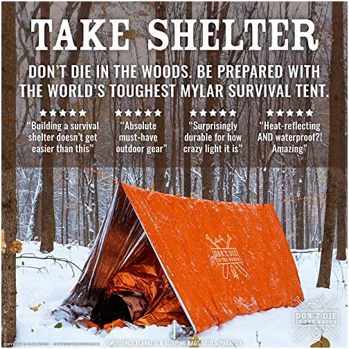 Don't Die In The Woods World's Toughest Ultralight Survival Tent • 2 Person Mylar Emergency Shelter Tube Tent + Paracord • Year-Round All Weather Protection for Hiking, Camping, Outdoor Survival Kits 4