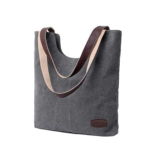 02a289bd3e0d8 MORGLOVE Damen Vintage Canvas Umhängetaschen Freizeit Handtasche Groß  Schultertasche Grau