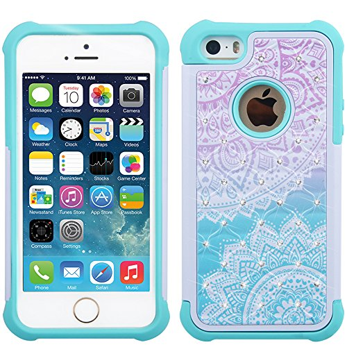 UrSpeedtekLive iPhone 5s Case, iPhone SE Case, [Shock Absorption] Dual Layer Hybrid Defender Protection Rhinestone Crystal Bling Cover Case for iPhone SE/5/5S - Mandala