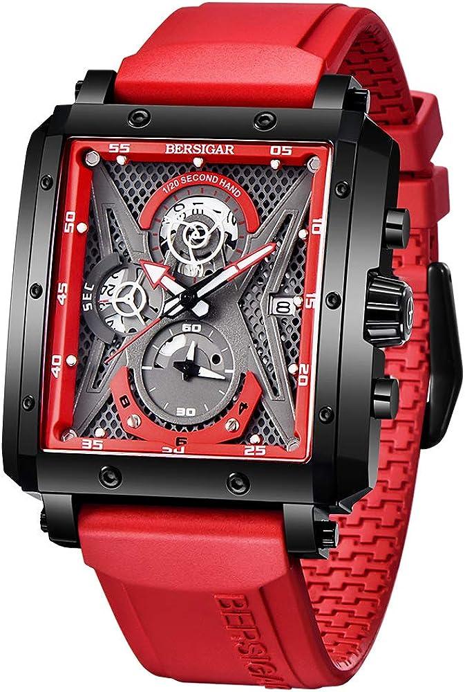 Bersigar, orologio,cronografo rettangolare per uomo,con cinturino in silicone e cassa in acciaio JJBG1657-3