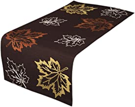 Xia Home Fashions XD17143 Rustic Autumn Embroidered Fall Table Runner, 16 by 36-Inch, Coffee