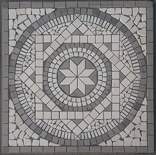 Pietra naturale marmo rosone 60 x 60 cm Mosaico inserto grigio crema piastrelle 053
