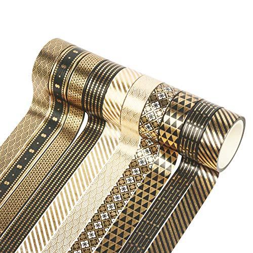 Cintas Washi Tape,10 Rollos Cinta Adhesiva Decorativa Masking Tape Set Washi Glitter Adhesivo de Cinta para Scrapbooking DIY Craft 15mm 5M