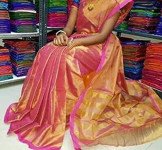 Ayesha fashion made for women uppada cotton tissue pink saree