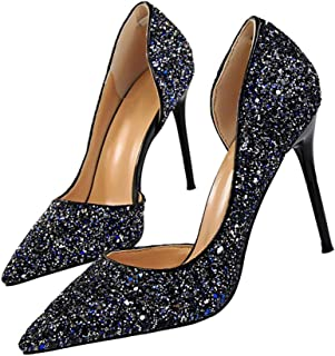 Pointed High Heel Shoes Fashion Dress Pumps Bridal Wedding Party Glitter Pump 3.5""