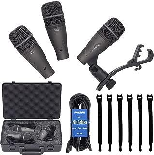Samson DK703 3-Piece Drum Microphone Kit 18' Mic Cable (3 Pack) MC18 + Op/Tech Strapeez, Black - Valued Accessory Bundle