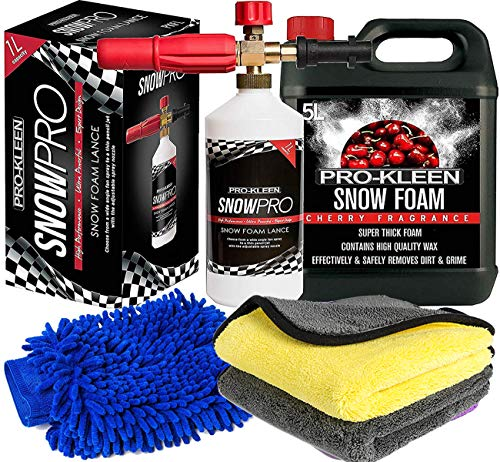 Pro-Kleen Snow Foam Lance Gun Kit + Lance For Use With Karcher K Series K2, K3, K4, K5, K6 and K7 + 5L Cherry Snow Foam Shampoo and Microfibre Wash Pad Mitt and Microfibre Cloths (5L Cherry Kit)