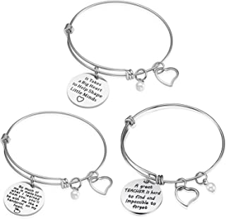 iJuqi Teacher Appreciation Gift Idea - 3PCS Stainless Steel Expendable Inspirational Bangle Bracelet Set, Best Teacher Jewelry, Thank You Gifts for Women, Christmas Birthday