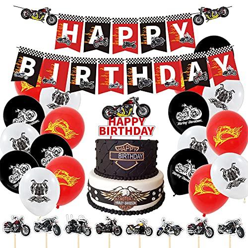 Formemory 44Pcs Geburtstag Dekoration Junge, Motorrad Geburtstagsdeko, Motorrad Party Zubehör mit Luftballons, Happy Birthday Banner, Kuchendeckel für Geburtstagsfeier Motorrad Thema Party Dekoration