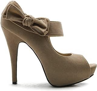 Ollio Women's Shoe Platform Open Toe High Heel Ribbon...