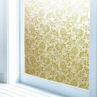 Frosted Glass Film 3D Static Cling Window Film,Privacy Stained Window Films Static Electricity Cling Frosted self-Adhesive Household Decorative Glass Sticker White/Gold Flower 17.7 x 78.7 Inch
