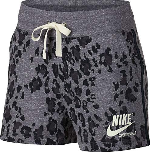 NIKE W NSW Gym VNTG Short Leopard Pantalón, Mujer, Black/Black/Sail, XL