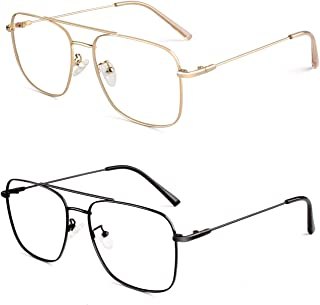 Sunier Clear Lens Non Prescription Gl Metal Frame Pilot Eyewear Men Women P50