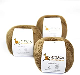 100% Baby Alpaca Yarn Wool Set of 3 Skeins Lace Weight (Camel)