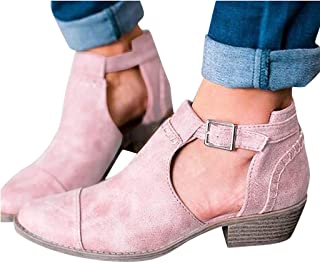 Padaleks Women's Trendy Buckle Strap Side Cut Hollow Ankle Booties High Heel Short Boots Retro Faux Leather Shoes