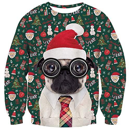ALISISTER Maglione Uomo Donna Natale Sweatshirt with 3D Cane di Natale Stampato Ugly Christmas Jumper Personalizzata Pullover Felpa Camicia Sportiva Casual XL