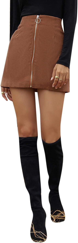 DIDK Women's High Waisted Corduroy Short Skirt Solid Zipper Front Mini Skirt