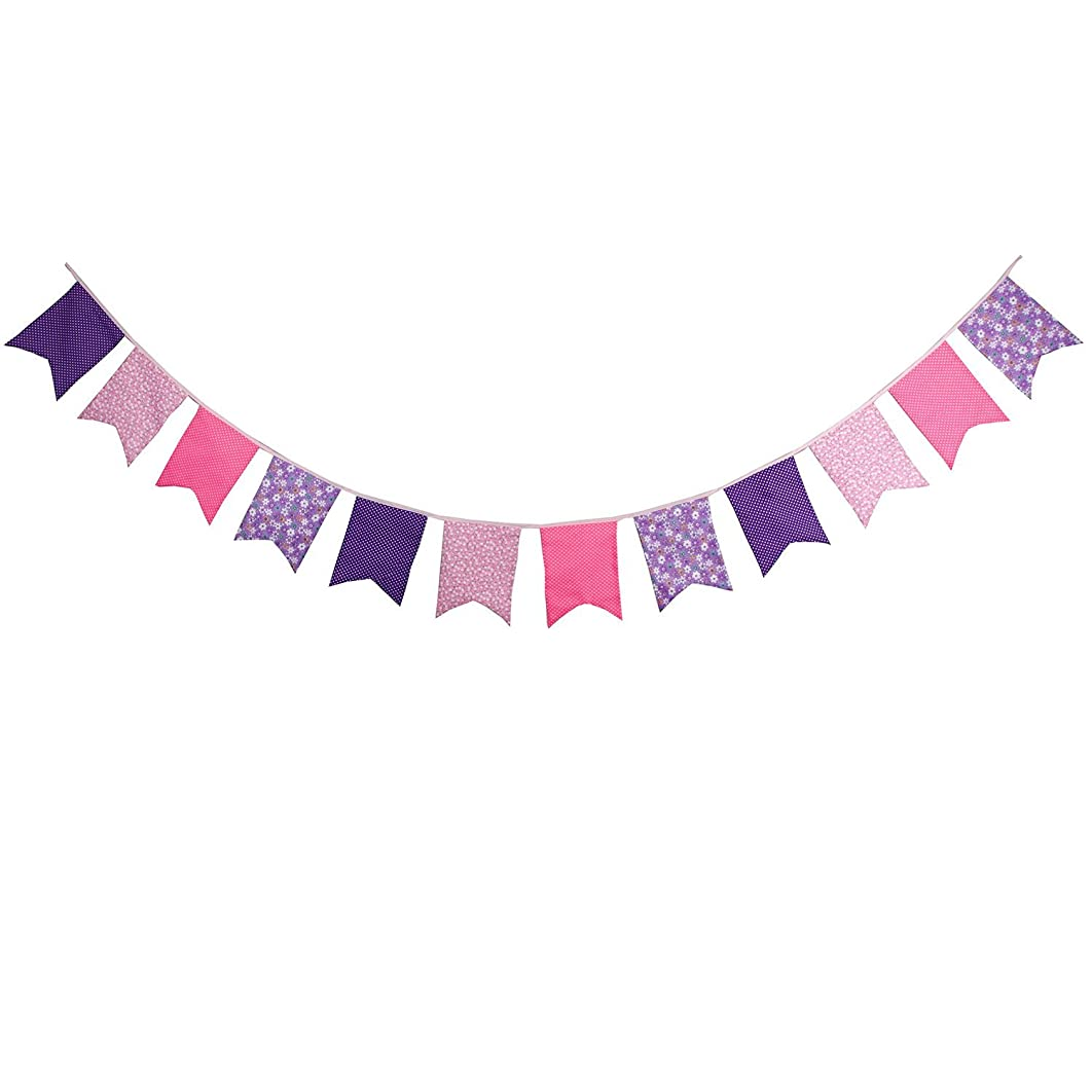 INFEI 3.5M/11.5Ft Floral Vintage Fabric Big Fishtail Flags Bunting Banner Garlands for Wedding, Birthday Party, Outdoor & Home Decoration (Pink & Purple)