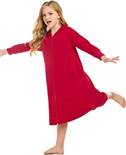 Ekouaer Girls Zip up Bath Robe Cover-Up Hoodie Nightgown Short/Short Sleeve Housecoat with Pockets