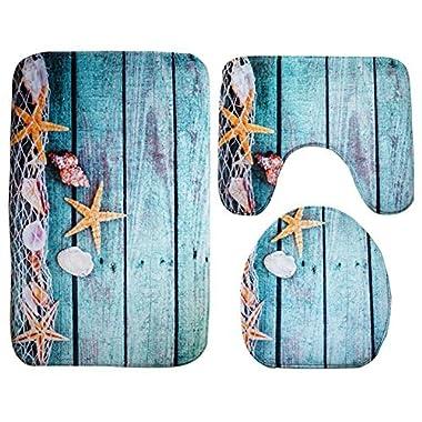 Moolecole Beach Seashells Starfish Sand Bath Mat Holidays Summer Bathroom Carpet Rug Non-Slip 3 Piece Toilet Mat Set Starfish Floor