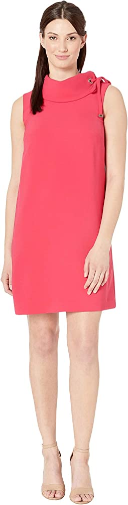 Sleeveless Roll Collar Sheath with Shoulder Detail