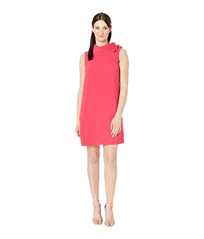 Tahari by ASL Sleeveless Roll Collar Sheath with Shoulder Detail (Raspberry Rose) Women