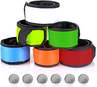 SENHAI LED Slap Bracelets Wrist Light for Running Riding Walking, Pack of 6 Armbands Glow Snap Bracelets, 6, with 6 Extra ...